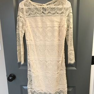 Chelsea & Violet cream lace overlay dress